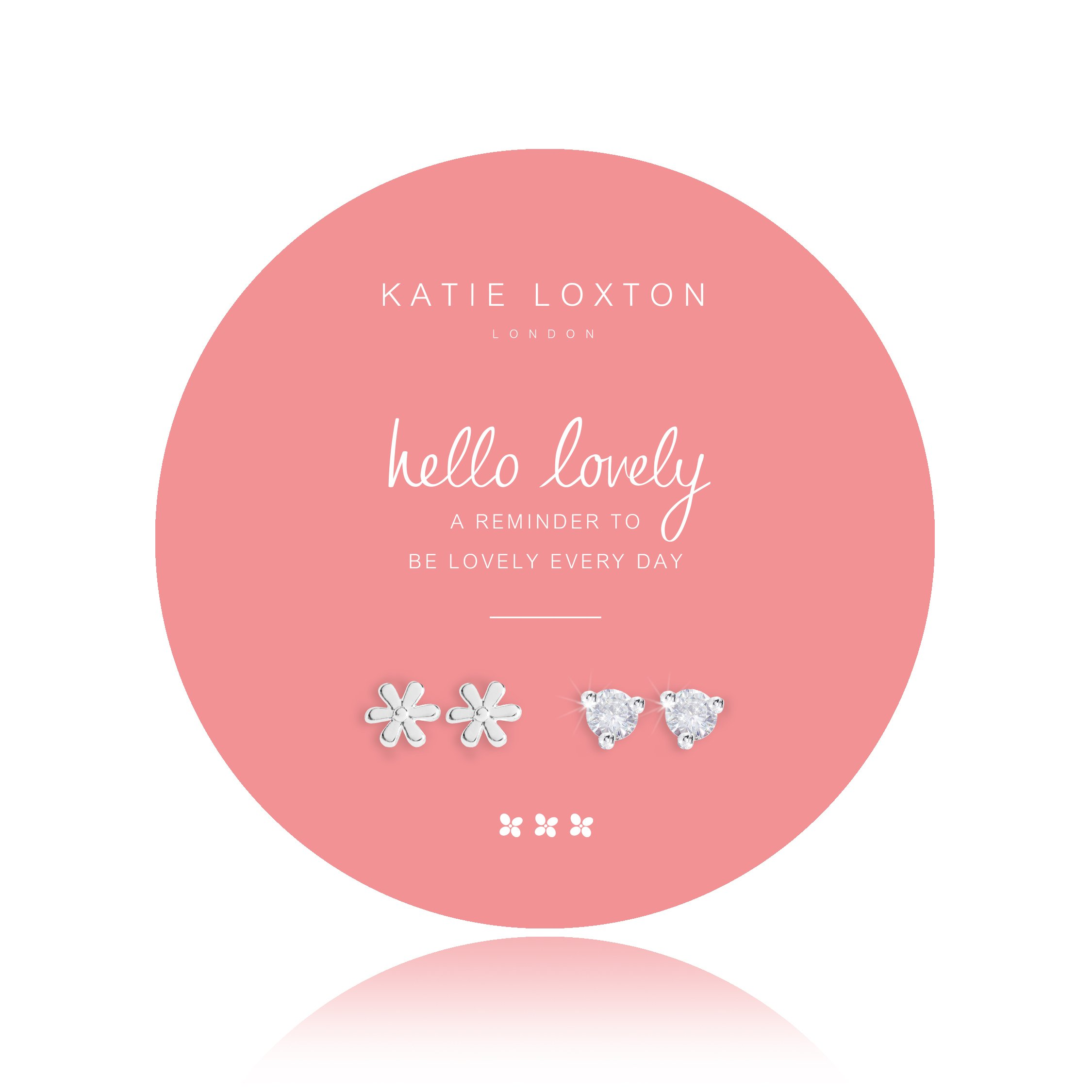 Katie Loxton - Summer Sparkle - Hello Lovely - Silver Flower Shaped and Crystal Earrings on Round Card - Set of 2