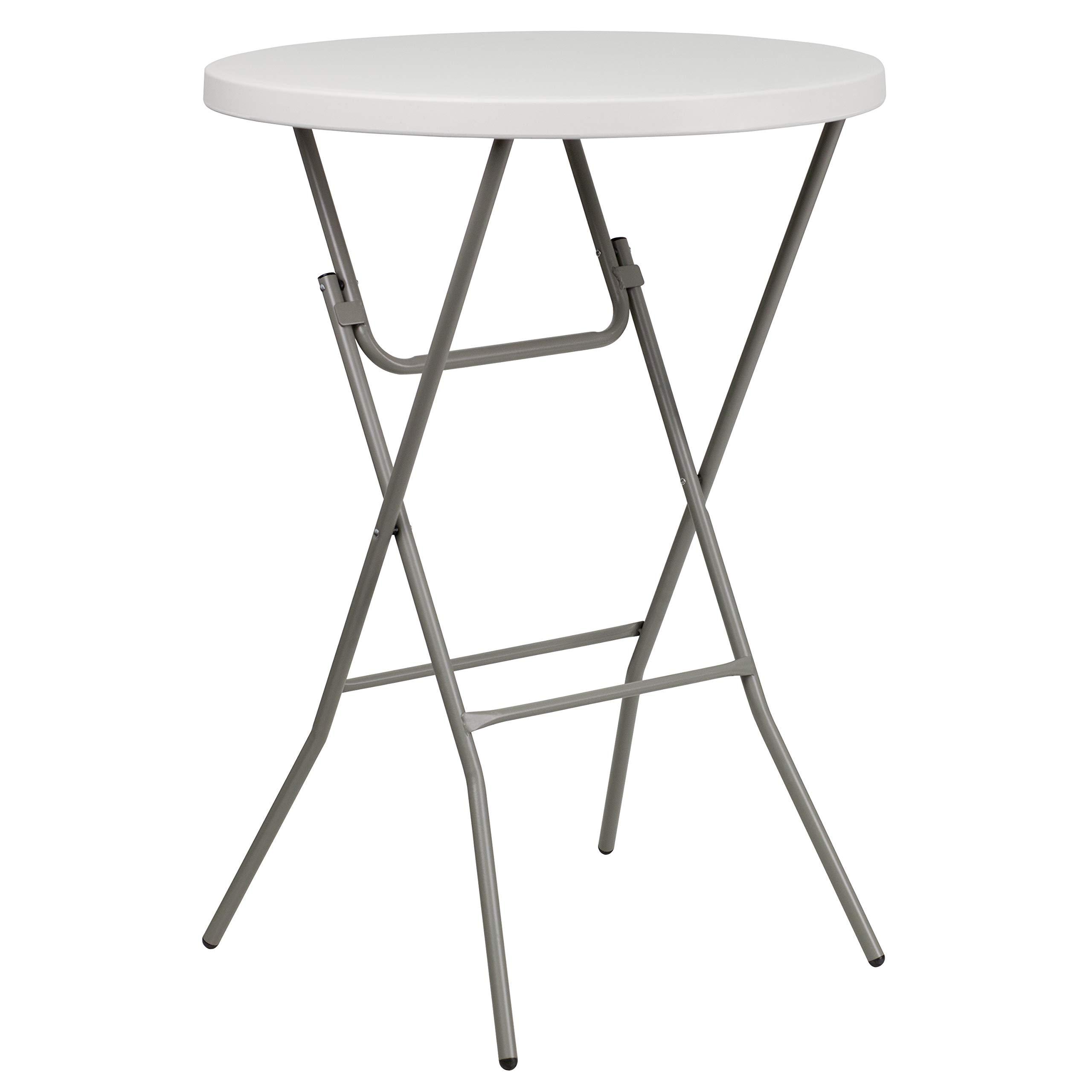 Flash Furniture 32'' Round Granite White Plastic Bar Height Folding Table by Flash Furniture