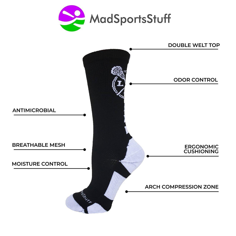 MadSportsStuff LAX Lacrosse Socks Lacrosse Sticks Athletic Crew Socks (Black/White, Large) by MadSportsStuff (Image #3)