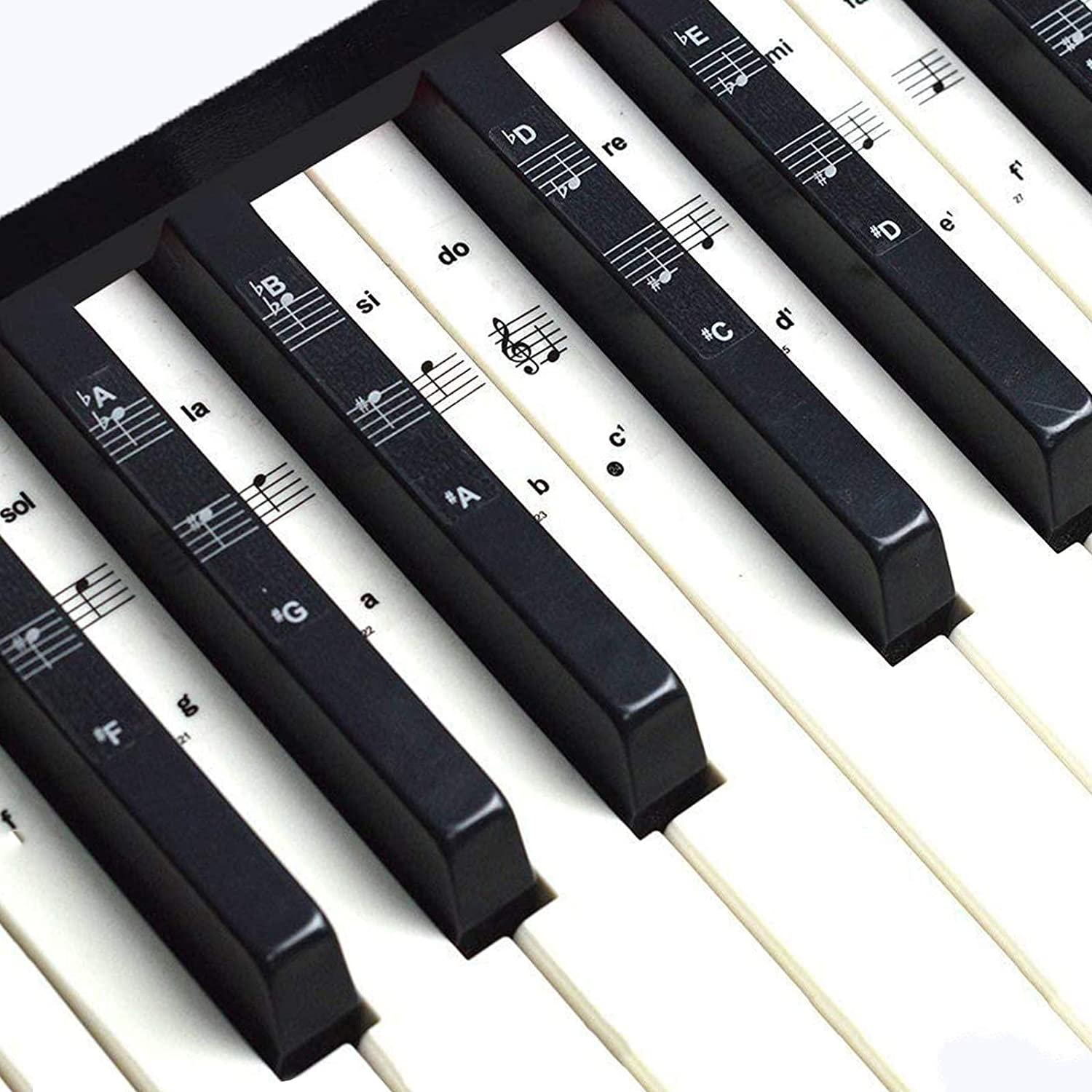 Piano Stickers Piano Keyboard Stickers for Key Transparent Removable Large Letter Piano Stickers Beginners Piano Keyboard Stickers Full Set Black/&White Keys for 49//61//76//88 Keyboards