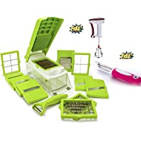 OSLEN Plastic Rust-Free Stainless Steel 12 Blades Vegetable Cutter with Chopper (Green)