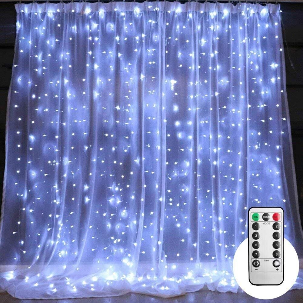 10 ft LED Curtain String Lights with Remote & Timer, 300-LED Icicle Fairy Twinkle Lights with 8 Light Modes fits for Bedroom Window Wedding Party Backdrop Home Garden Outdoor Indoor Wall, Pure White