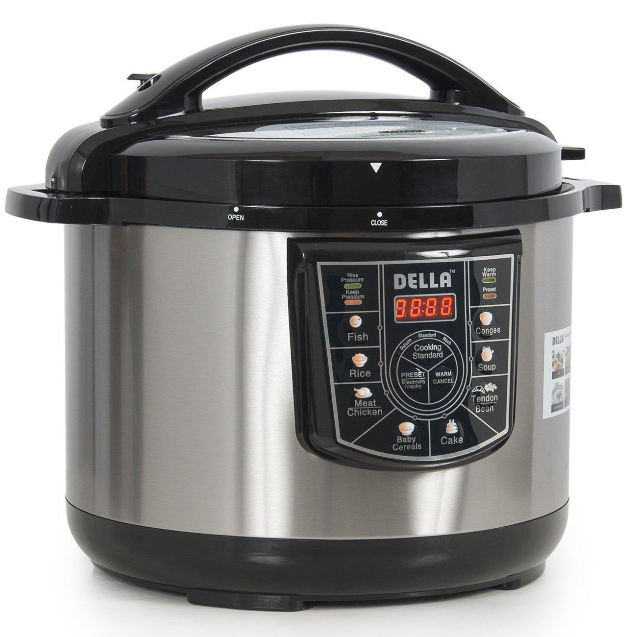 DELLA 048-GM-48237 10 quart 1400W 8-in-1 Programmable Electric Pressure Cooker, Silver, Small