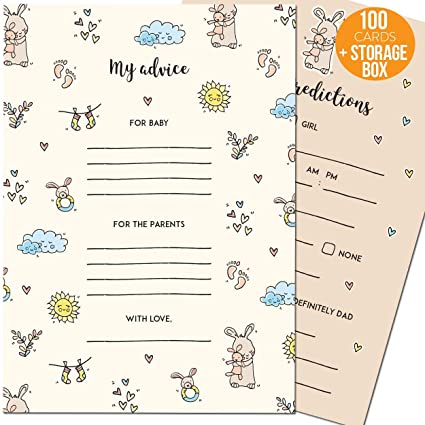 Baby Shower Prediction And Advice Cards – Perfect Baby Shower Games For  Boys And Girls - 50 Large Baby Prediction Cards And 50 Small Baby Shower