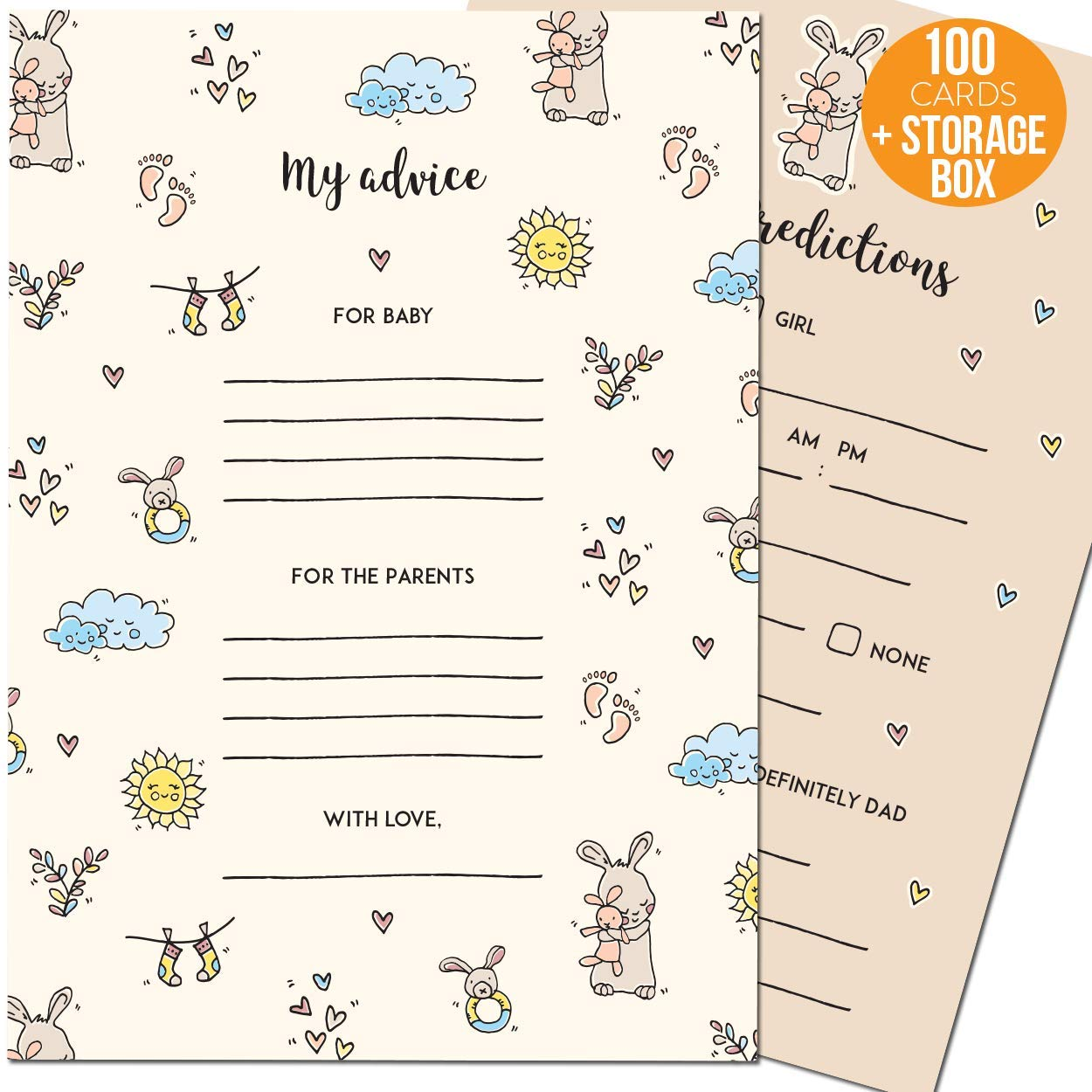 Baby Shower Prediction and Advice Cards - Perfect Baby Shower Games for Boys and Girls - 50 Large Baby Prediction Cards and 50 small Baby Shower Advice Cards for Parents in a Cute Keepsake Box