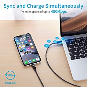 iPhone 11 Charger, ESR USB C to Lightning Cable, [3.3ft MFi-Certified], Braided Nylon Power Delivery Fast Charging for iPhone 11/11 Pro/11 Pro Max/XR/XS Max/XS/X/8, for Use with Type-C Chargers, Black (Color: Black, Tamaño: 3.3ft)