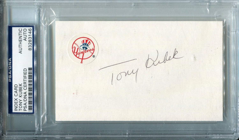 Tony Kubek Autographed New York Yankees 3x5 Card (PSA)