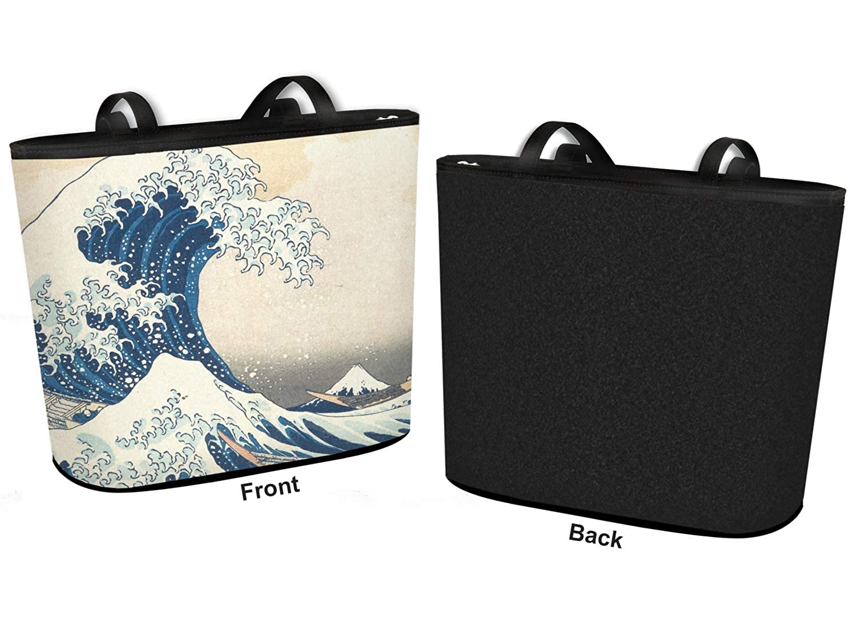 Regular w//Front Design Great Wave of Kanagawa Bucket Tote w//Genuine Leather Trim