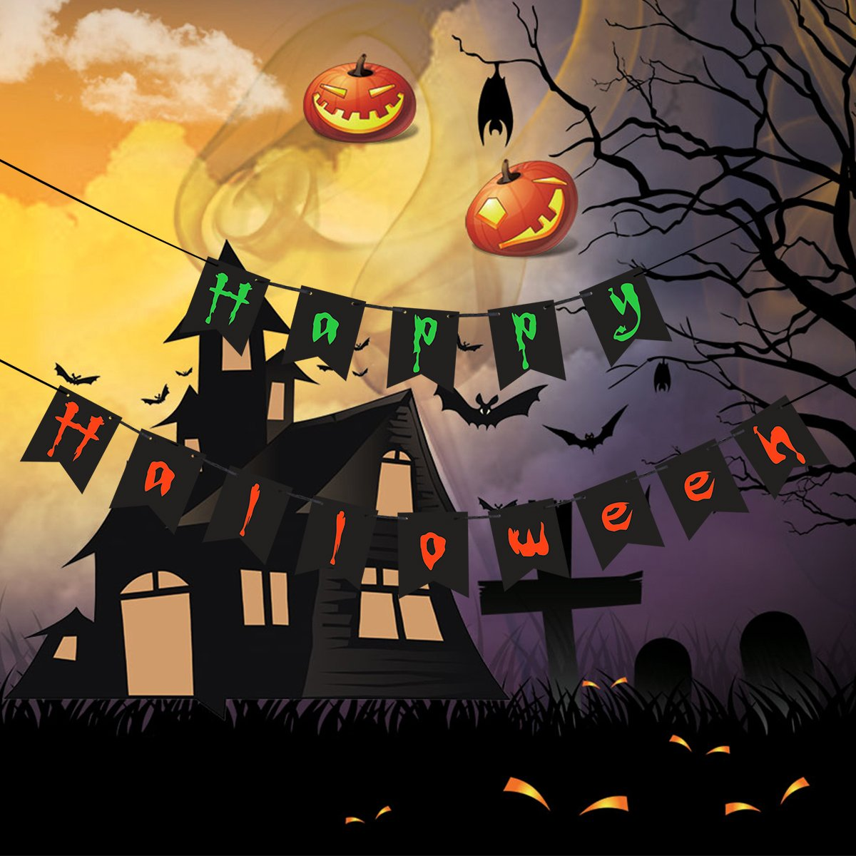 amazoncom happy halloween banner flags party banners halloween flags for halloween party decorations home kitchen