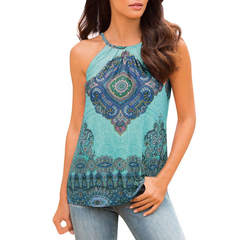 SSYongxia❤ Womens Summer Casual Sleeveless Tops Boho Print Loose Shirts Tank Tops Summer Beach Blouse Top Blue