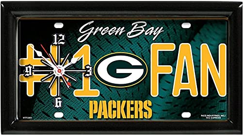 Green Bay Packers NFL Quartz Clock Number 1 Fan License Plate Shaped Room Decor