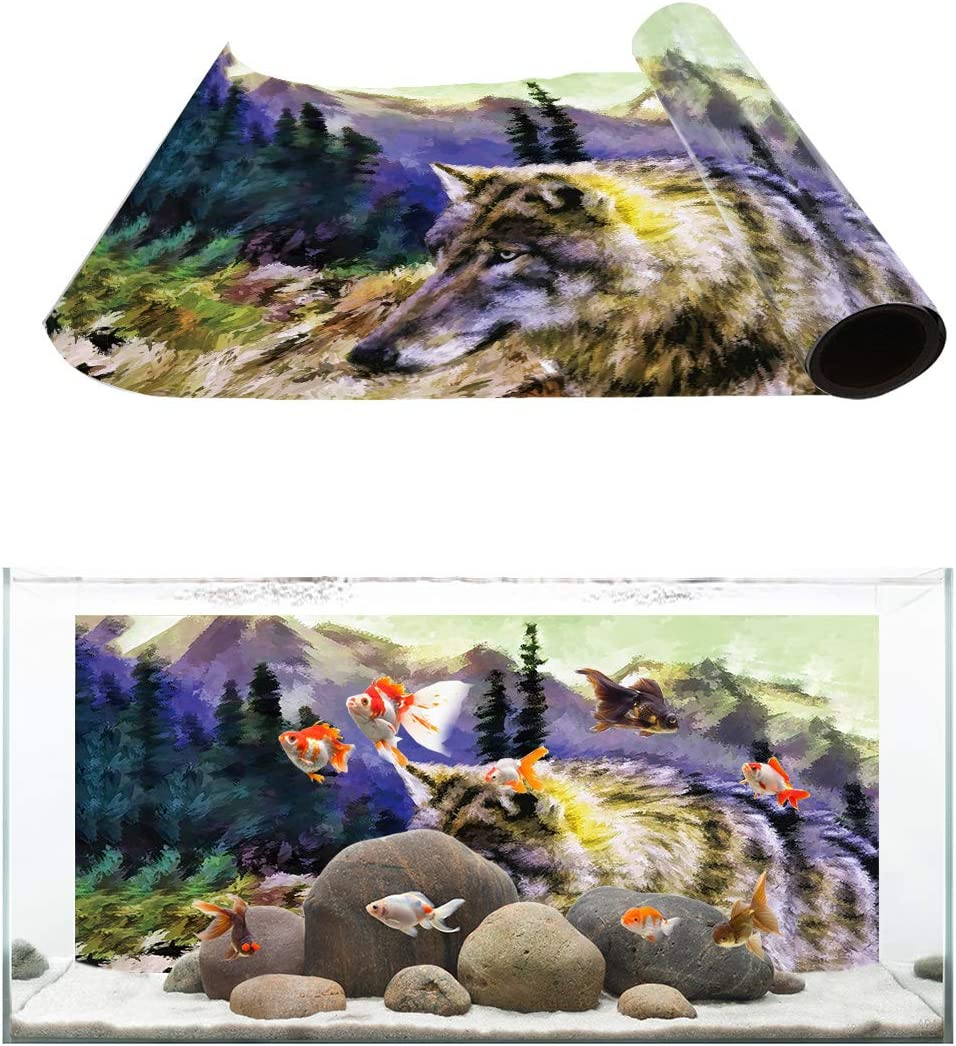 Aquarium Background Forest Wolf Oil Pating Fish Tank Wallpaper Easy to Apply and Remove PVC Sticker Pictures Poster Background Decoration