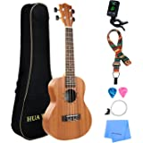 Hua Wind Concert Ukulele 23 Inch Mahogany Ukulele Beginner Kit with Gig bag, Strap, Picks, Extra Ukulele strings,Polishing cloth