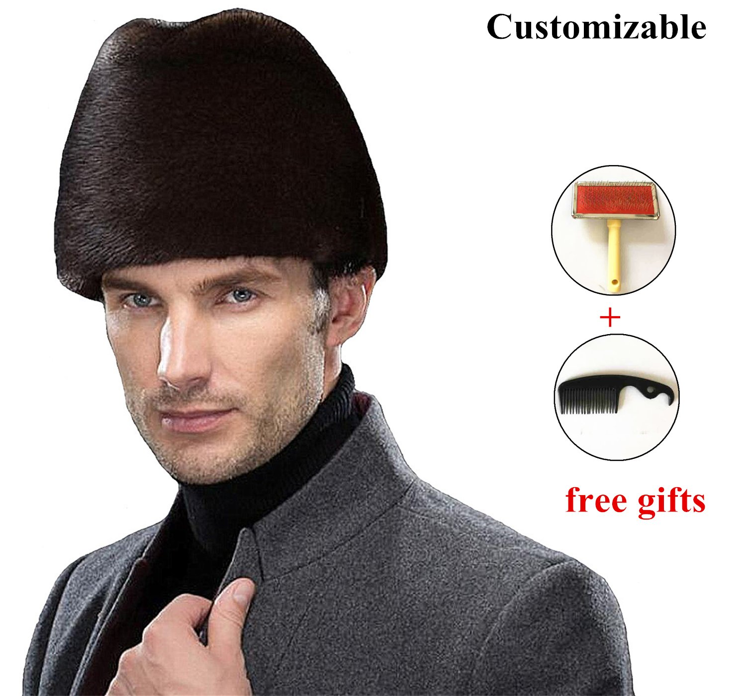 Okayda Men's Russia Noble Real Mink Fur Hat Fashion Gentleman Winter Cap Coffee S
