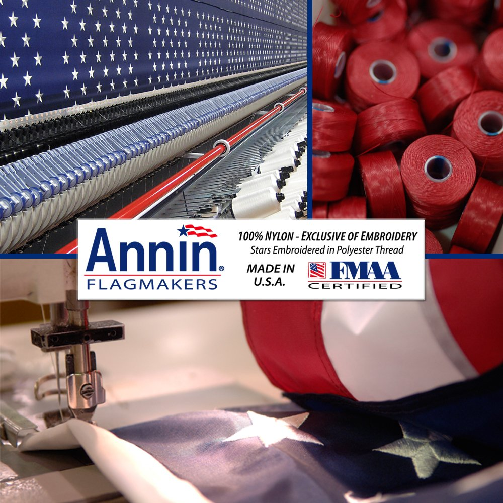 American Flag and Flagpole Set - 20 ft. Aluminum 5-section In-Ground Flagpole and US Flag 3x5 ft. SolarGuard Nylon by Annin Flagmakers, Anthem Kit Model 742371 by Annin Flagmakers (Image #3)