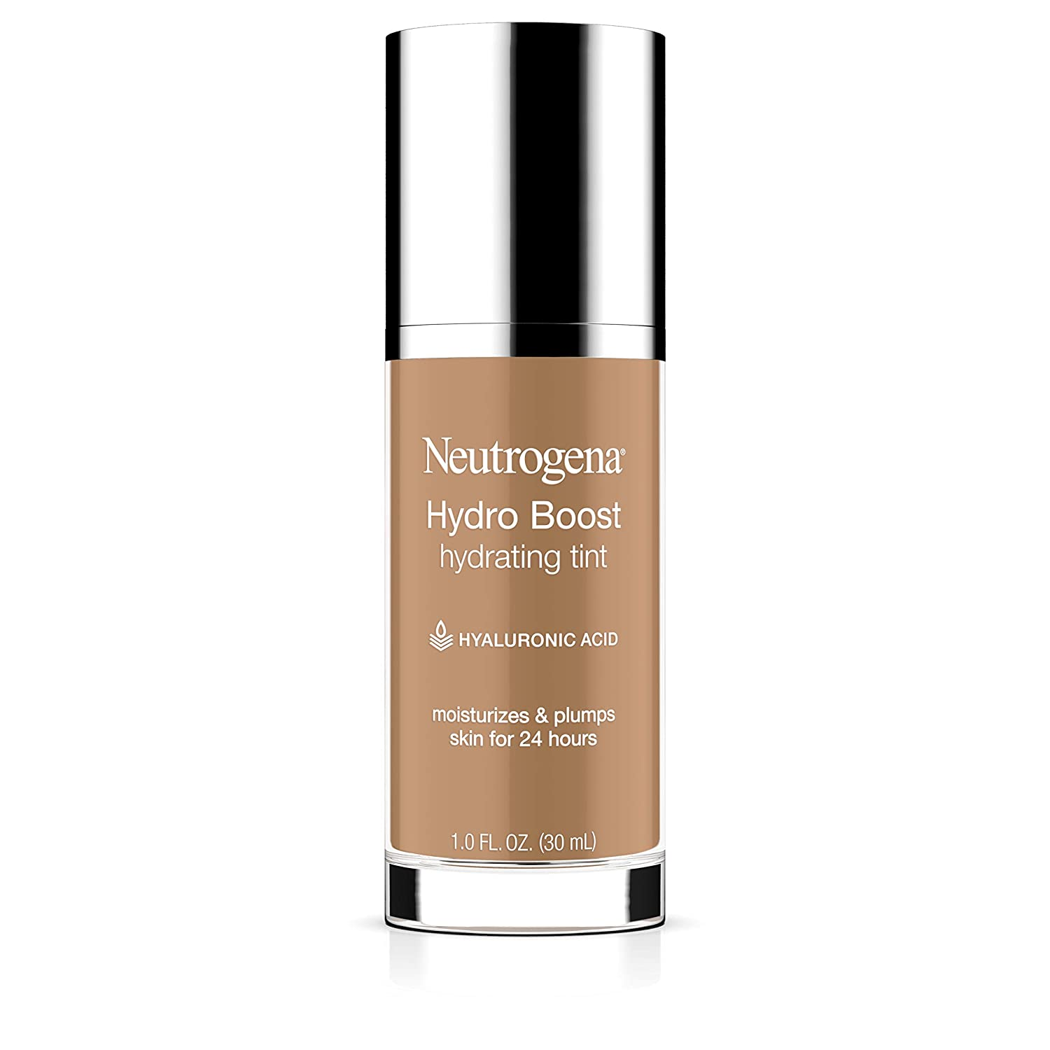 Neutrogena Hydro Boost Hydrating Tint with Hyaluronic Acid, Lightweight Water Gel Formula, Moisturizing, Oil-Free & Non-Comedogenic Liquid Foundation Makeup, 105 Caramel Color 1.0 fl. oz