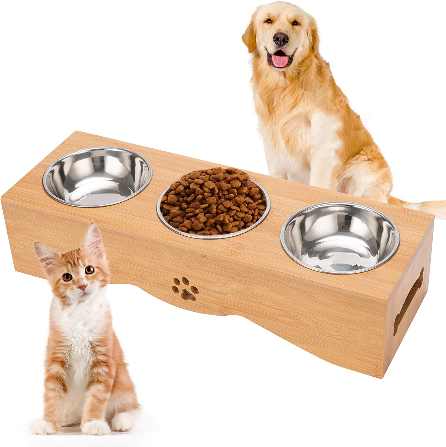 JAZUIHA Multiple Cat Elevated Bowls Stainless Dog Bowl with Bamboo Stand Pet Food and Water Feeder with 3 Bowls No Spill Perfect for Cats and Small Dogs