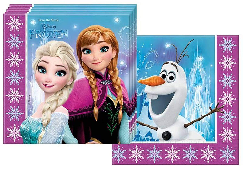 ocballoons Kit Festa Compleanno Tavola Party Principesse Elsa Anna Addobbi e Decorazioni 8 Piatti 8 Bicchieri 20 Tovaglioli 20 Palloncini 8 Persone 8 Persone