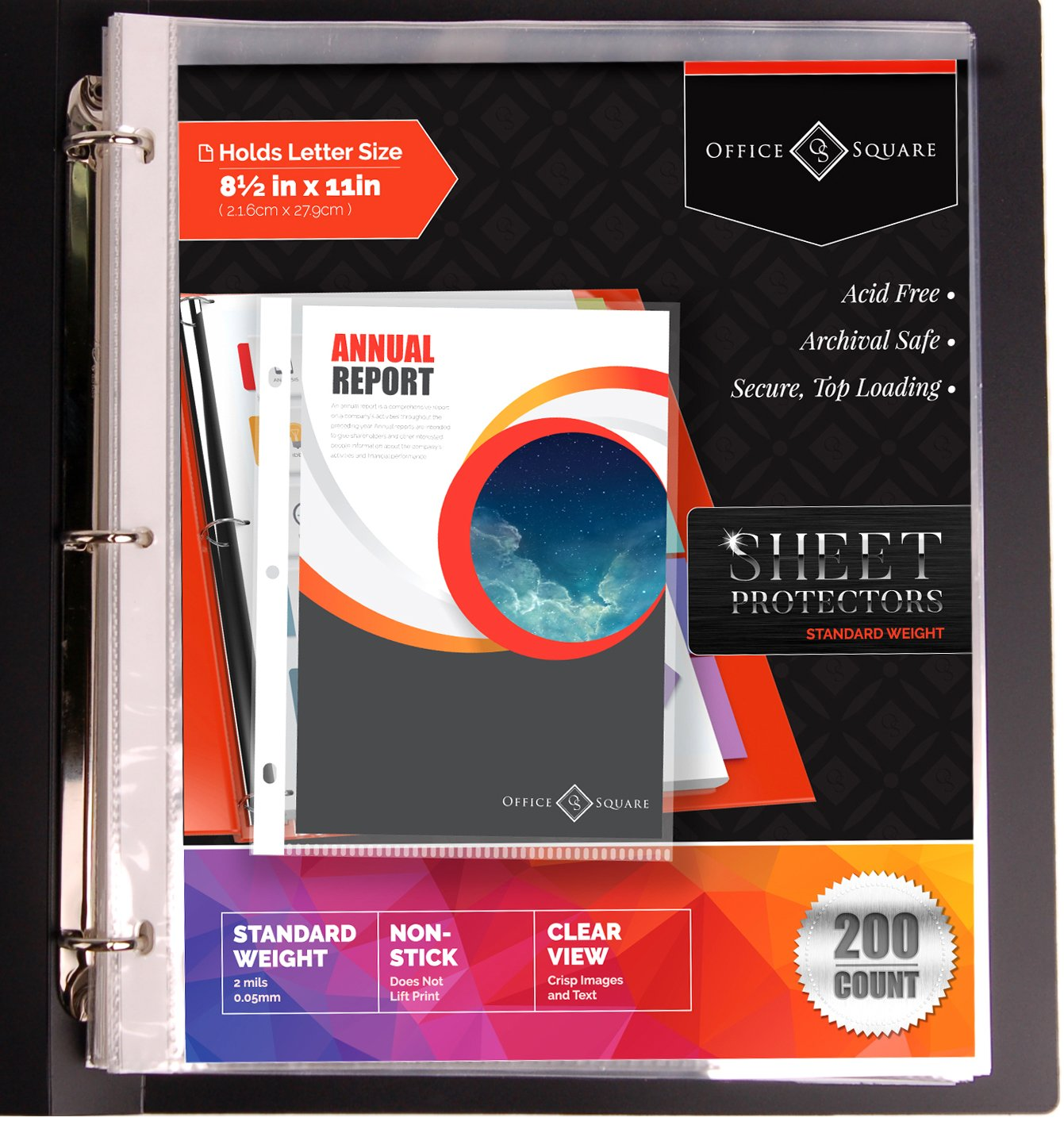 200-Pack Standard (Not Economy) Weight Clear Sheet Protectors by Office Square