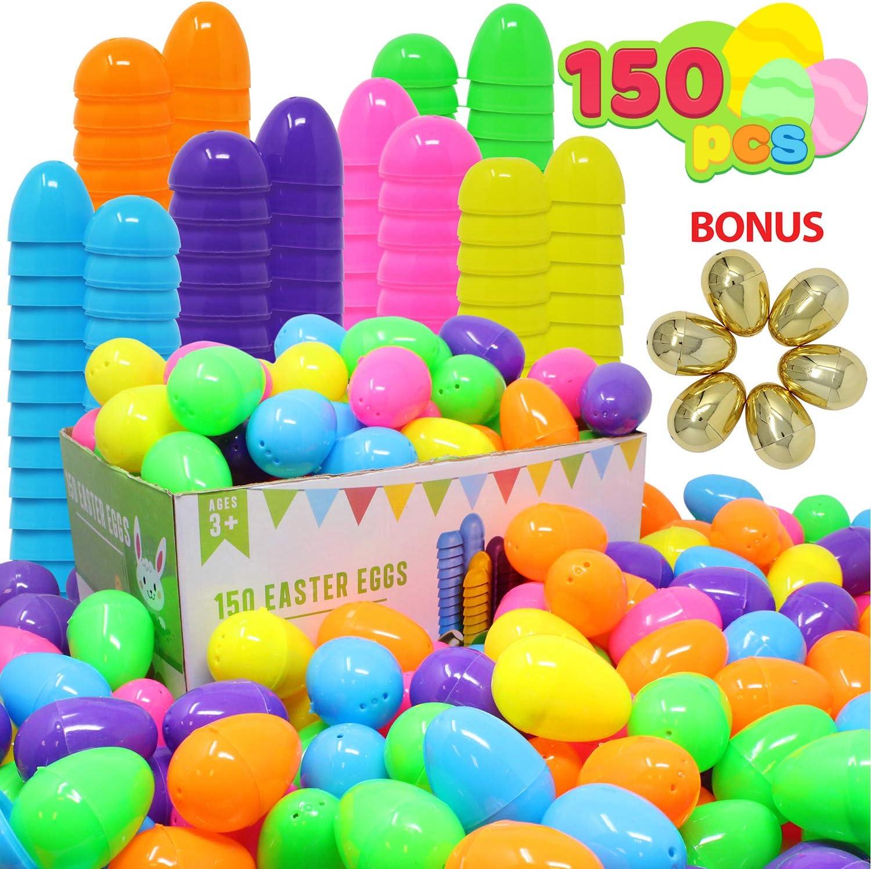 JOYIN 144pcs Huevos de Pascua y 6pcs Huevos de Oro Plástico de Colores 6.3cm