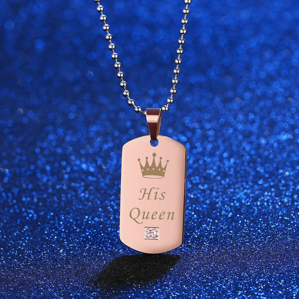Gagafeel Couple Necklace Crown Tag Queen & King His Hers Titanium Stainless Steel Pendant Matching Set Gift for Lover (Black+Rose Gold)