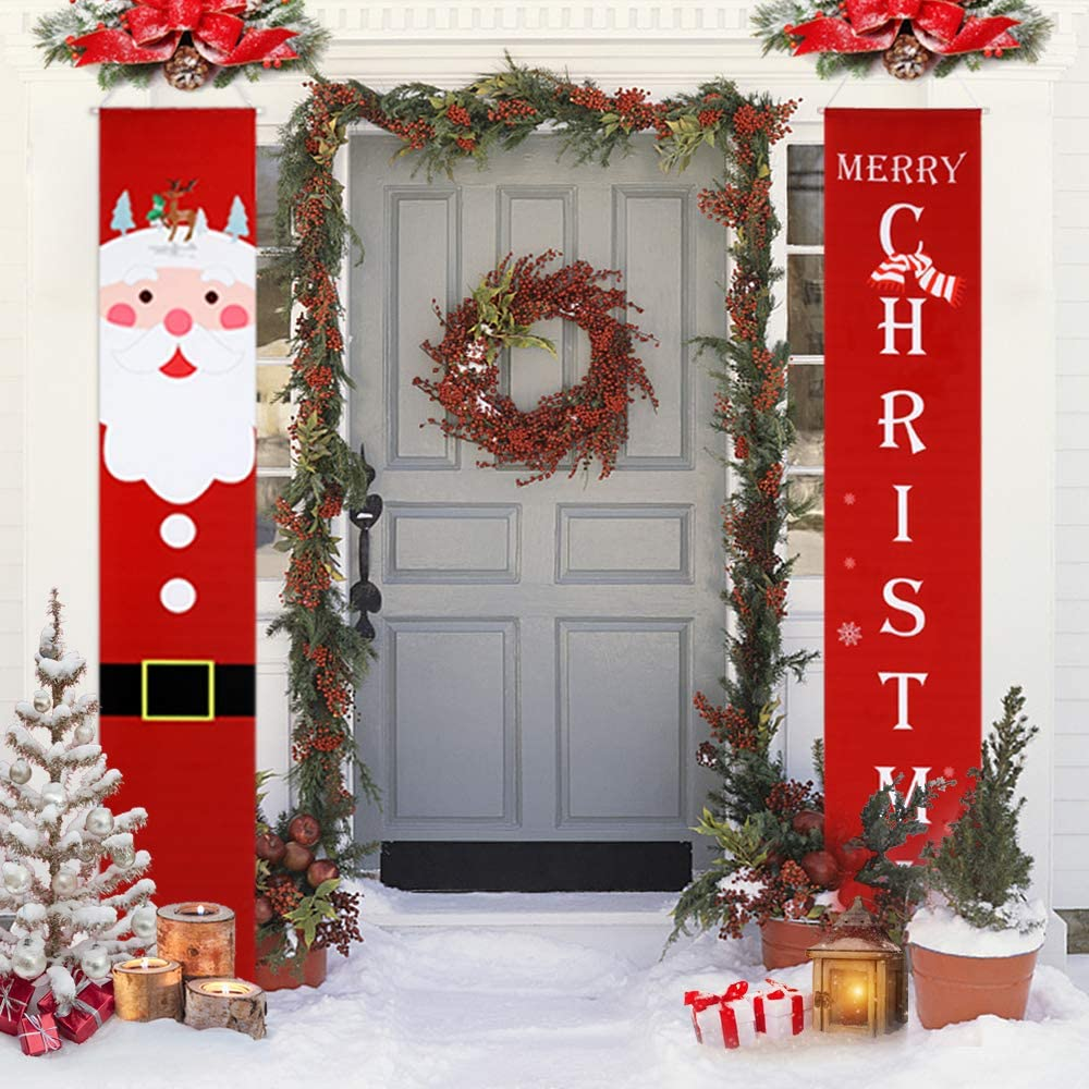Amazon Com Christmas Decorations Outdoor Clearance Porch Sign Christmas Banners With Merry Christmas And Lovely Santa Claus For Indoor Front Porch Decor Clearance 12x71inch Garden Outdoor