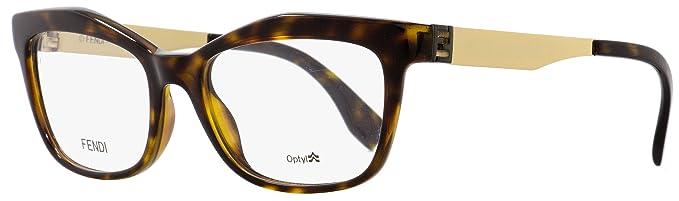 411f29d1e7 FENDI Eyeglasses 0050 0PGM Havana Gold 53MM at Amazon Men s Clothing ...