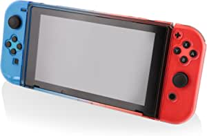 Nyko Thin Case - Dockable Protective Case with Tempered Glass Screen Protector for Nintendo Switch - Red/Blue