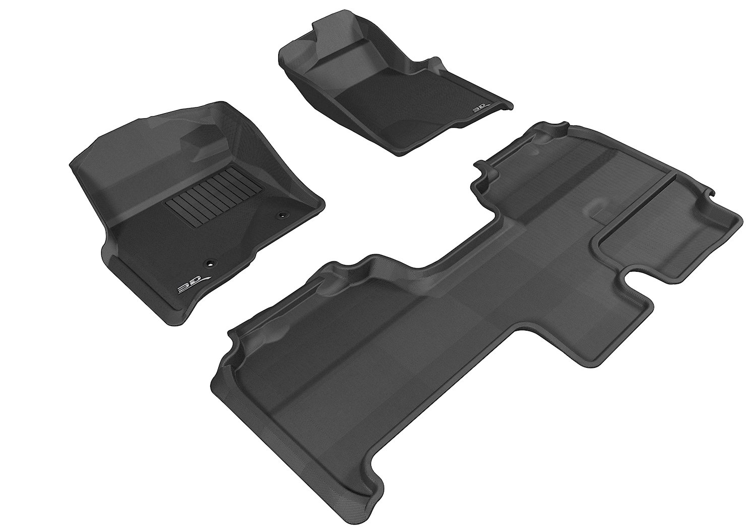 Gray 3D MAXpider Complete Set Custom Fit All-Weather Floor Mat for Select Ford F-150 Models Kagu Rubber