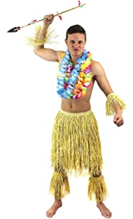 bf14f7a95 MENS ZULU SET HAWAIIAN FANCY DRESS COSTUME ACCESSORY OUTFIT NATURAL GRASS  SKIRT + ARM   LEG