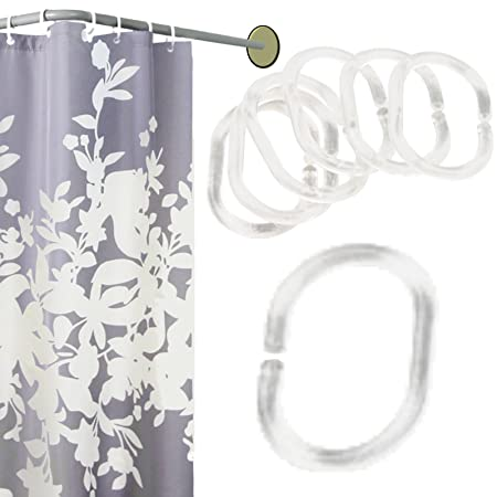 WXJ13 36 Pack Curtain Rings Hooks Shower For RodClear