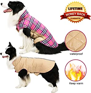 TPYQdirect Dog Jacket, Waterproof Windproof Reversible British Style Plaid Dog Vest Winter Coat Warm Dog Apparel Cold Weather Dog Jacket Small Medium Large Dogs