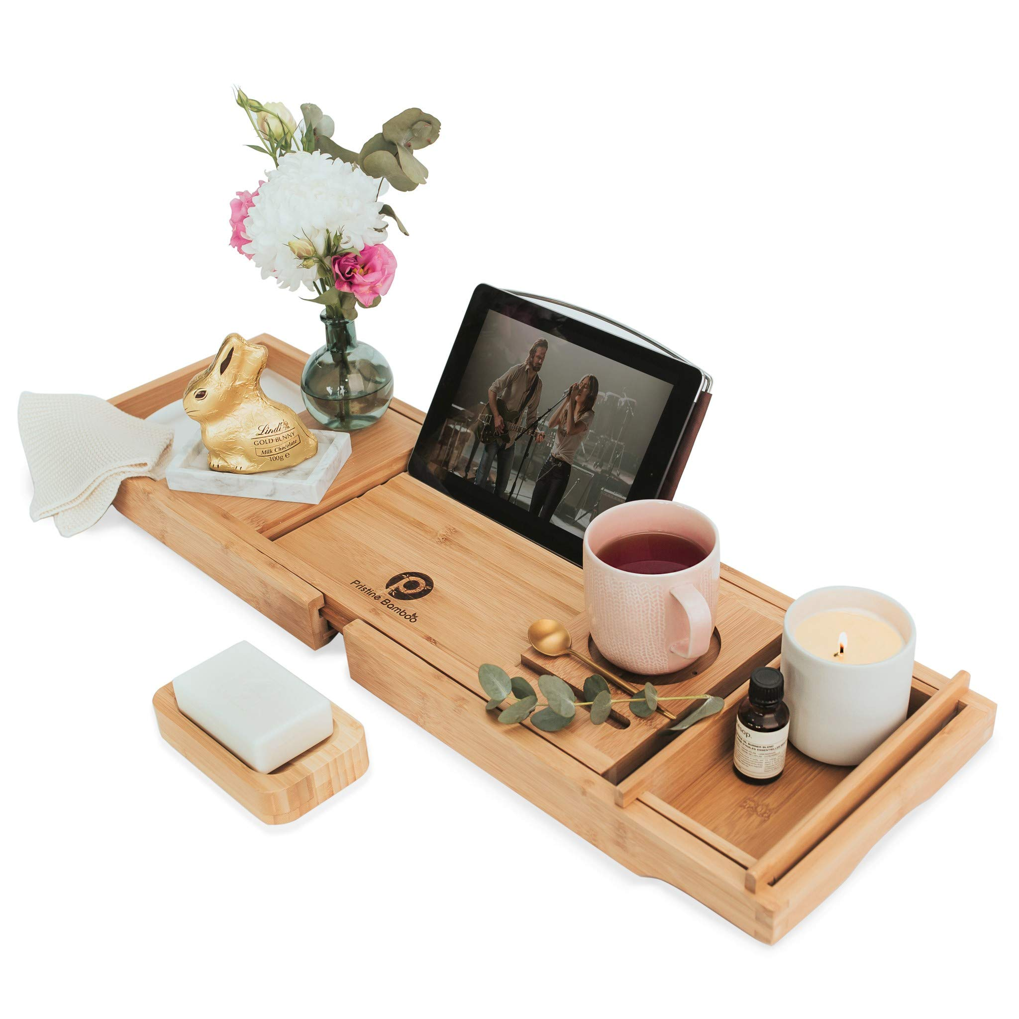 PRISTINE BAMBOO Bathtub Caddy – Eco-friendly, Waterproof, Book, Wine, iPad Holder – Expandable Wood Tray For Bath – For Uninterrupted Relaxing