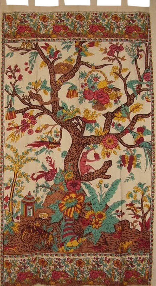 India Arts Tree of Life Tab Top Curtain Drape Panel Cotton 44 x 88 Beige