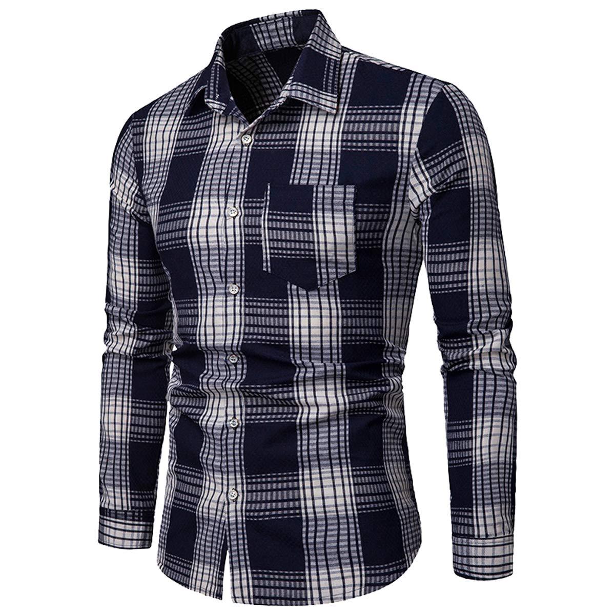 2018 Trend Mens Long-Sleeved Plaid Shirt Classic Casual Shirt