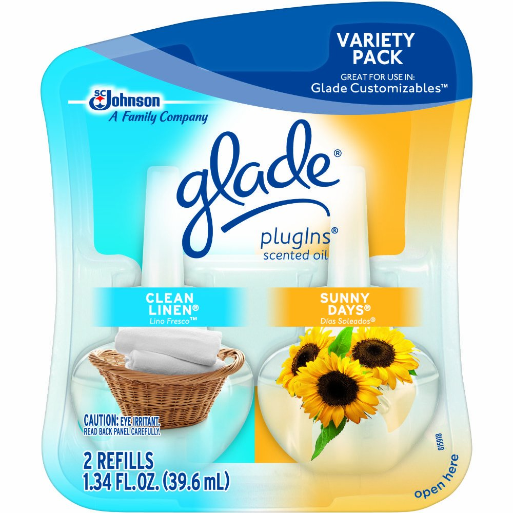 Glade PlugIns Scented Oil Air Freshener Refill, Clean Linen & Sunny Days, 2 refills, 1.34 oz (Pack of 6)