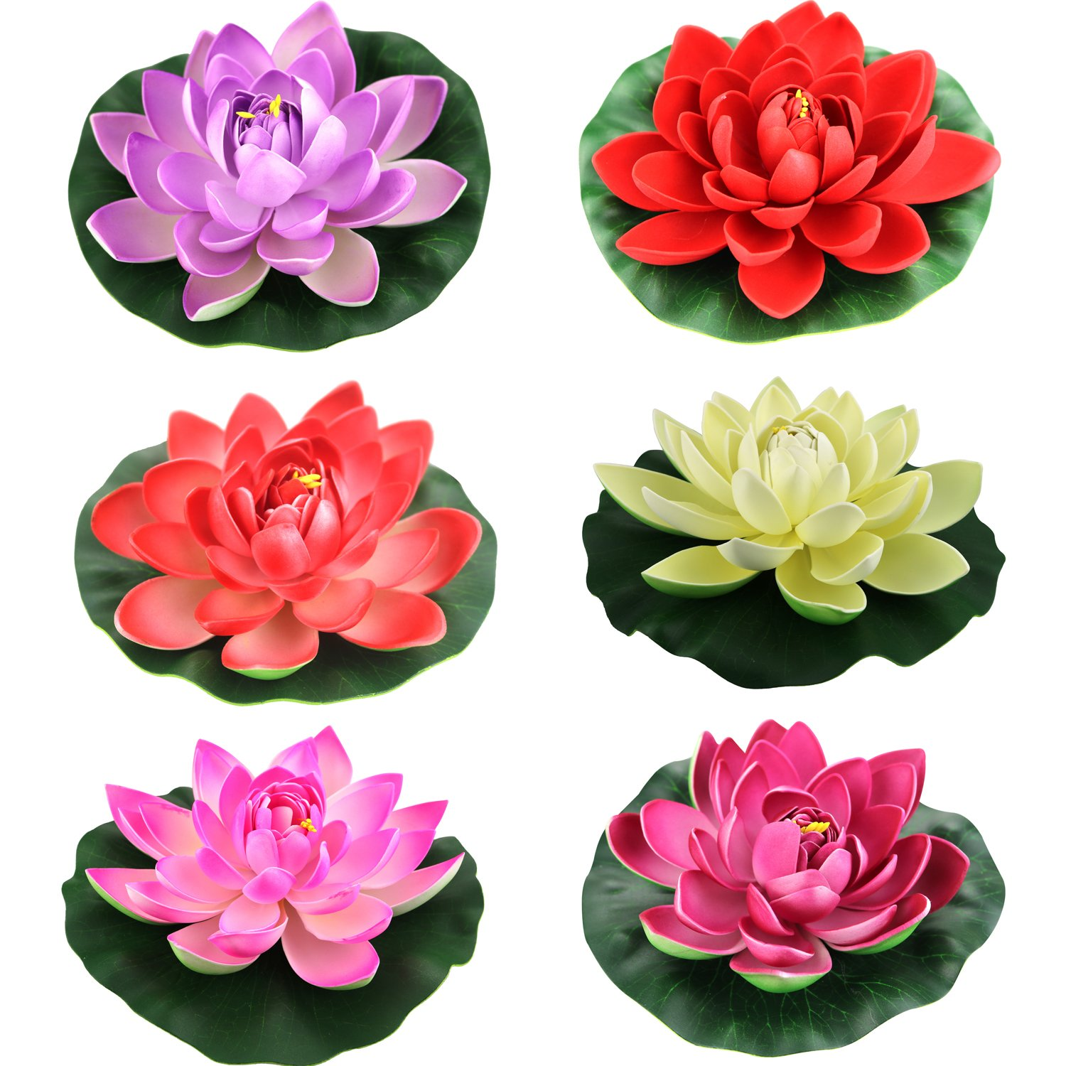 Amazon.com : Lightingsky Artificial Floating Foam Lotus Flower Pond ...