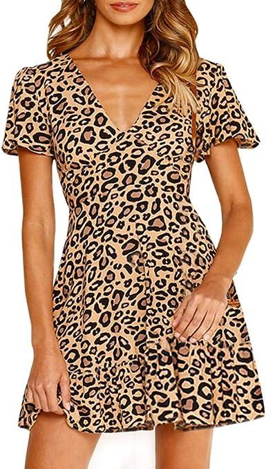 CANDLLY Las Rebajas!Vestido Estampado De Leopardo para Mujer ...