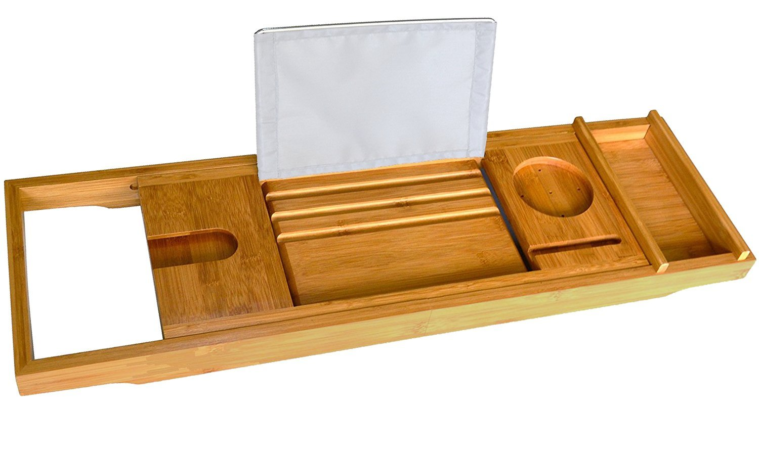 Bamboo Bath Tray - Bath Book Holder - Bathroom Bath Caddy Organizer with Rubber Grips Bathique