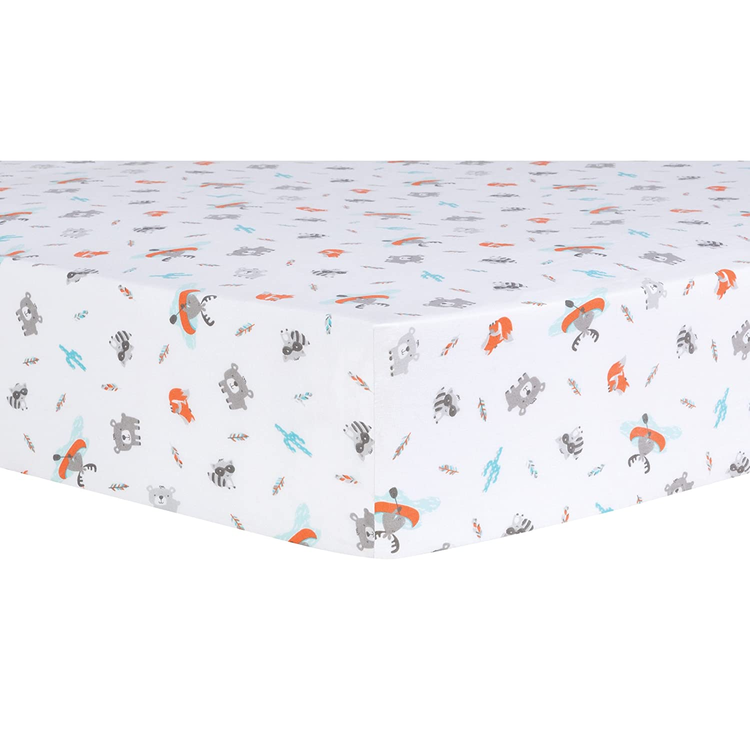 Trend Lab Moose Canoe Fitted Crib Sheet, Multi 103096