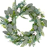 Bibelot 20 Inch Green Leaves Eucalyptus with Real Cotton Ball Wreath for Front Door,Farmhouse Decor,Indoor,Outdoor…