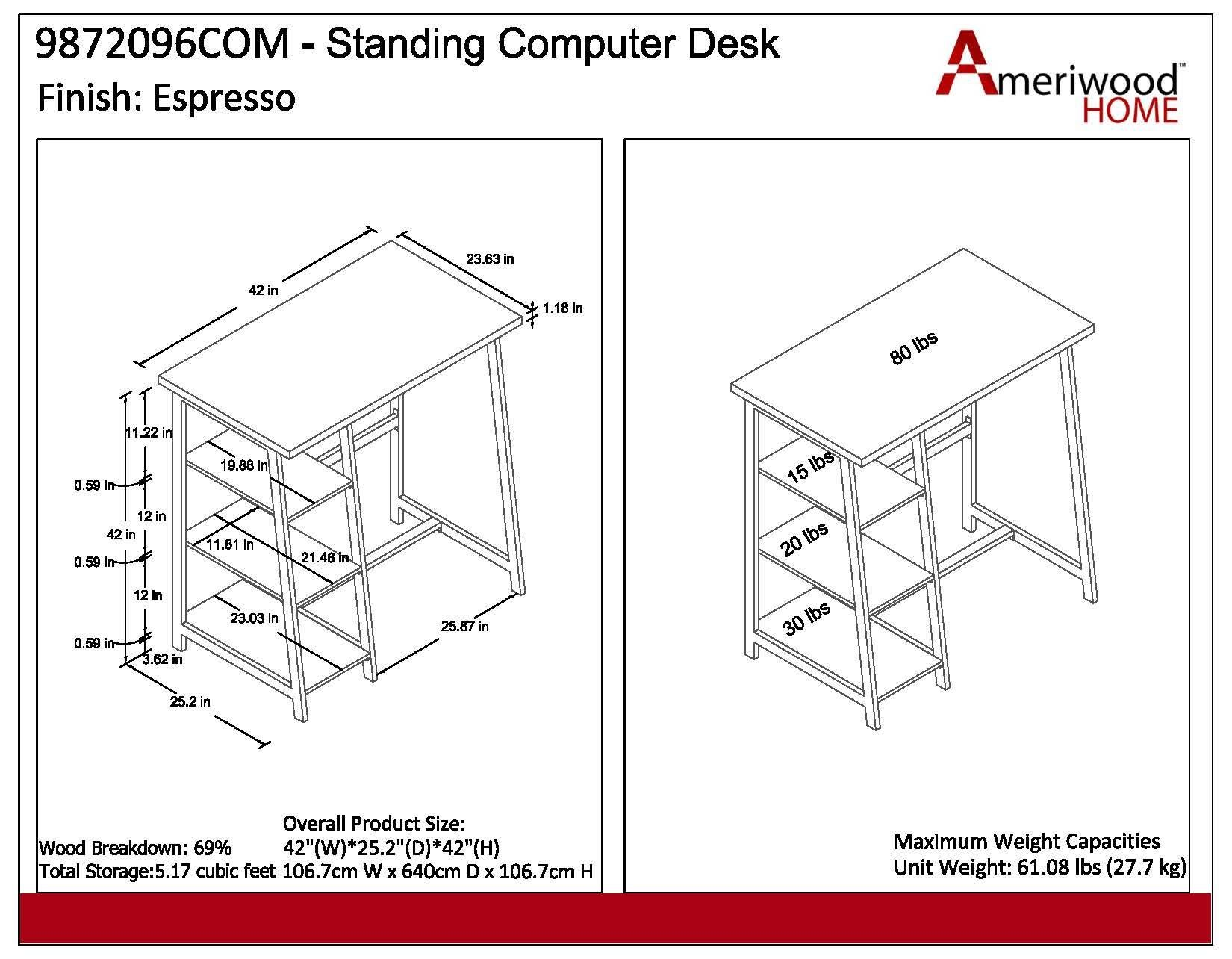 Ameriwood Home 9872096COM Coleton Standing Desk by Ameriwood Home (Image #3)