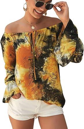 Camisa de Mujer con Hombros Descubiertos Blusa de Manga Larga Túnica Tops Blusa Camisas: Amazon.es: Ropa y accesorios