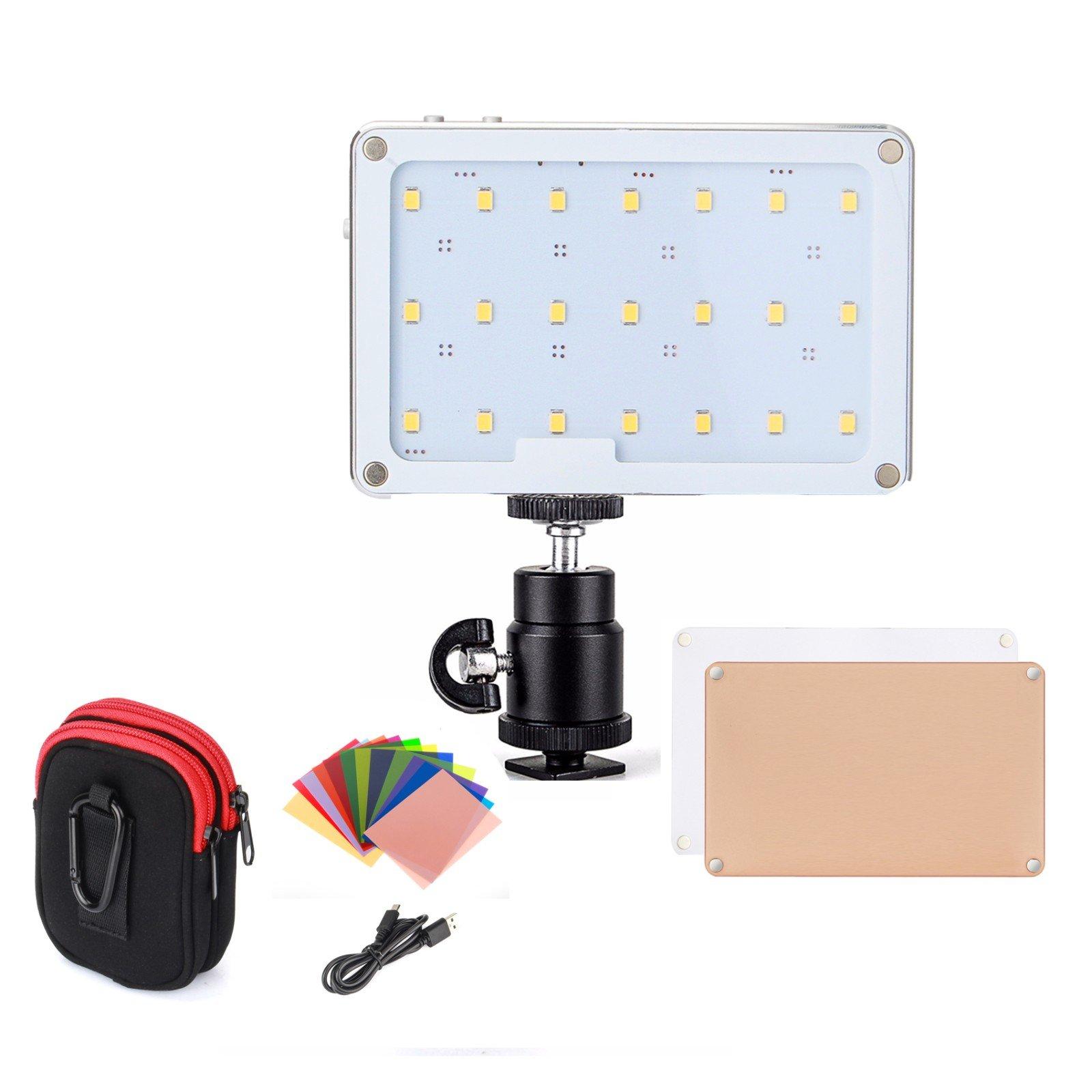 LED Video Light, SOKANI X21 Pocket-Sized Daylight OLED Screen Build-in 1600mAh Battery Lighting Video LED DSLR Sony, Nikon, Canon, iPhone, 21 Bulbs Great Video Vlogging Selfies