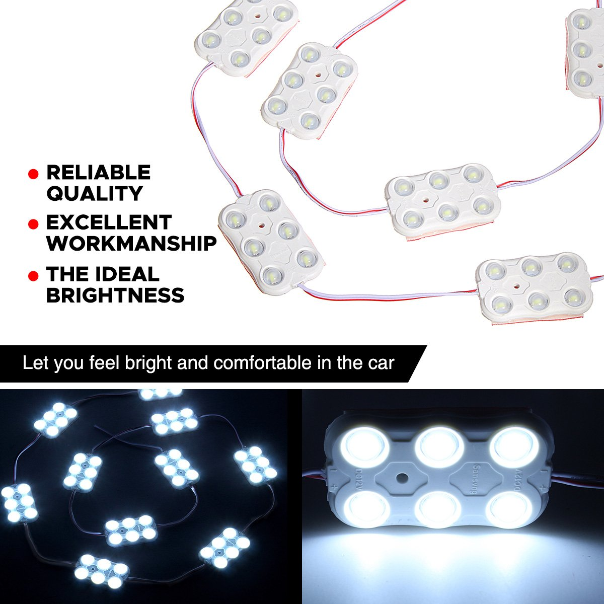 AUDEW 30 Led White Interior Lights Kit For LWB Van Lorries Sprinter Ducato Transit VW