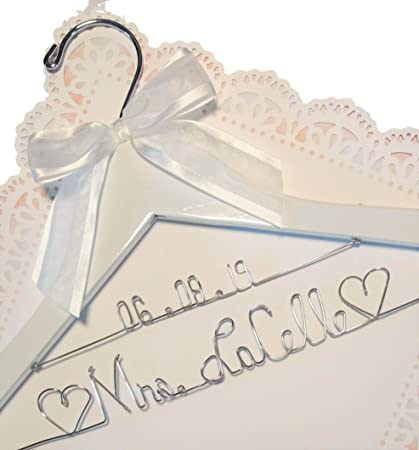 Personalized Bride Dress Hanger With Date , ANY NAME Silver wire , Wedding  , White Hanger, Bridal