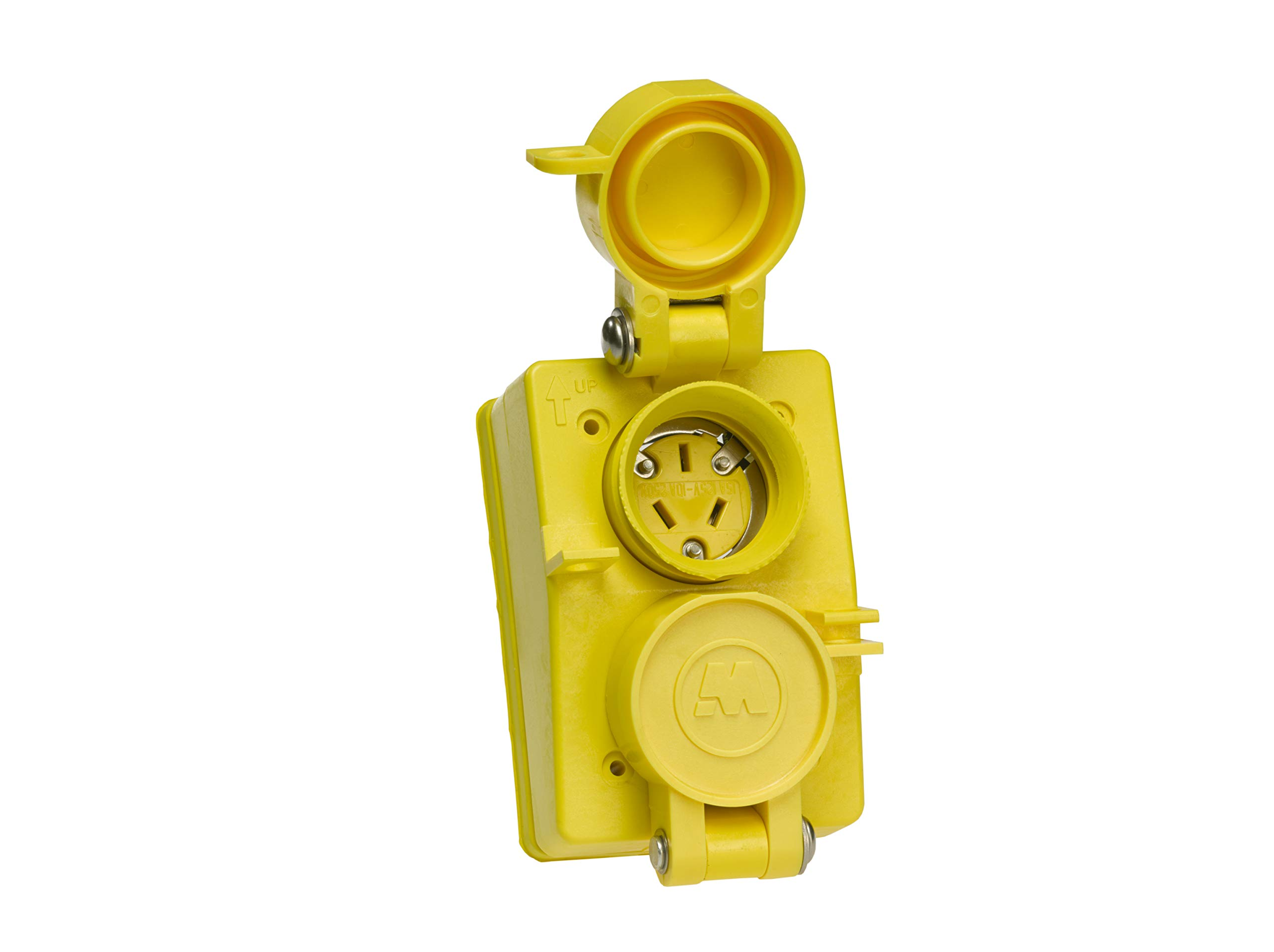 Woodhead 60W07DPLX Watertite Wet Location Straight Blade Receptacle, Duplex Flip Lid, Female, 3 Wires, 3 Poles, Yellow, 25A 125V / 10A 250V Rating by Woodhead (Image #2)