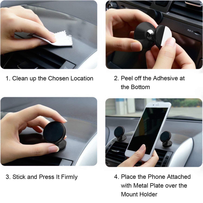 360/° Girevole Sticky Portatile Cruscotto Supporto Telefono Porta Cellulare Auto per iPhoneX//8//7//6//6s Plus,Samsung Note 8//S8,LG,Huawei GPS Libershine Supporto Magnetico per Auto