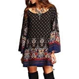 FEITONG Manches longues Mode féminine Casual and Loose Party Vintage Beach Dress Casual Vestidos