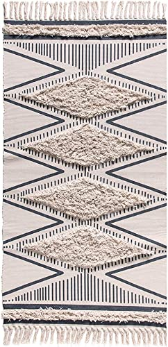 Morocco Cotton Hand Woven Printed Area Rugs Wolala Home Tufted Tassels with Anti Skid Pad Throw Rug Machine Washable Bath Mat,Doormat, Indoor Outdoor Carpet 2 x 3